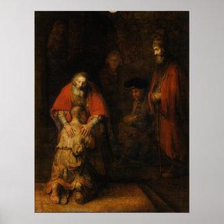 Rembrandt Van Rijn著放蕩な息子のリターン ポスター