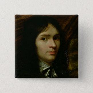 Rene Descartesのポートレート 5.1cm 正方形バッジ