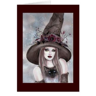 Renee Lavoie著子猫カードを持つハロウィンの魔法使い カード