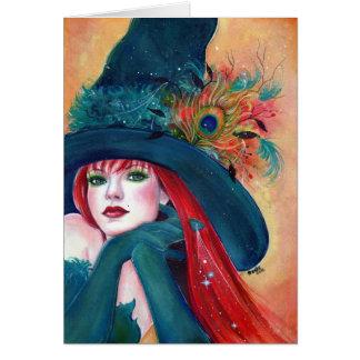Renee Lavoie著羽カードを持つハロウィンの魔法使い カード