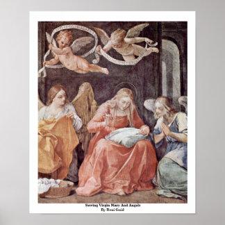 Reniギド著縫う聖母マリアそして天使 ポスター
