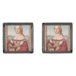 Rennaisanceのユニコーンおよび女性Raphael Painting ガンメタル カフスボタン