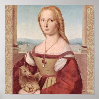 Rennaisanceのユニコーンおよび女性Raphael Painting ポスター
