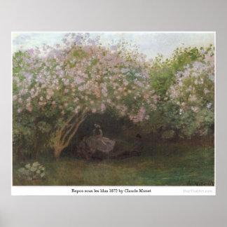 Reposのクロード・モネ著sous lesのlilas 1872年 ポスター