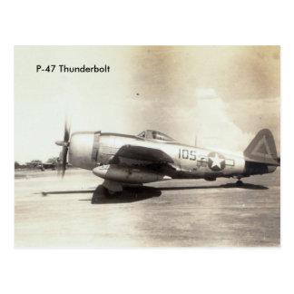 Repuplic P-47の落雷WWIIの航空機 ポストカード
