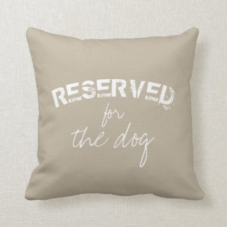 reserved for the dog quote pillow beige and white クッション