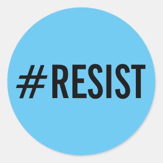 #Resist、スカイブルーのステッカーのはっきりしたで黒い文字 ラウンドシール