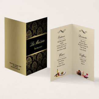 restaurant menu folded business card 名刺