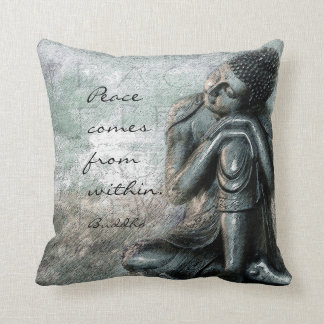Resting Buddha with peace quote words of wisdom クッション