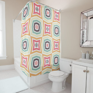 Retro Colorful Pattern Shower Curtain シャワーカーテン