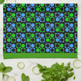 Retro Mod Blue Green Patten Kitchen Towel キッチンタオル