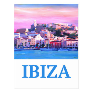 Retro Poster Ibiza Old Town and Harbour ポストカード