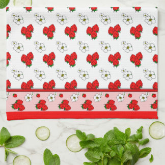 Retro Red Strawberry Patten Kitchen Towel キッチンタオル