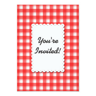 Retro Red White Plaid Custom Invitation 12.7 X 17.8 インビテーションカード