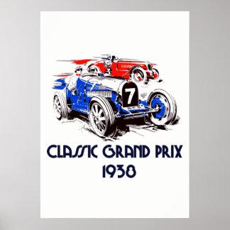 Retro style classic cars Grand Prix 51 x71 ポスター