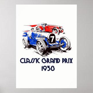 Retro style classic cars Grand Prix 53 x 73 ポスター