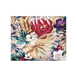 Retro Tropical Flower Pattern キャンバスプリント