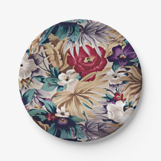 Retro Tropical Flower Pattern ペーパープレート