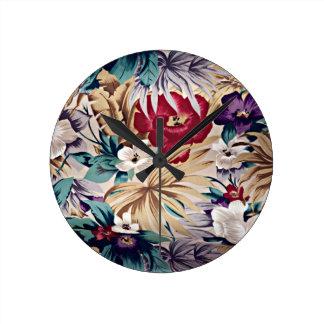 Retro Tropical Flower Pattern ラウンド壁時計