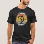 Retro Vintage Sunset Trees Fishing Oklahoma Fisher Tシャツ