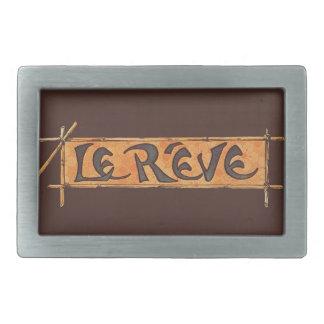 Reveの夢のフランス人のSteinlenの1880年代のヴィンテージブラウン 長方形ベルトバックル