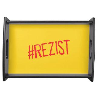 rezistのルーマニアの政治スローガンは抗議のsymに抵抗します トレー