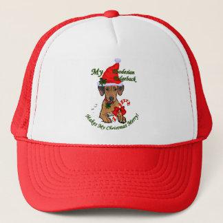 Rhodesian Ridgebackのクリスマスのギフト キャップ