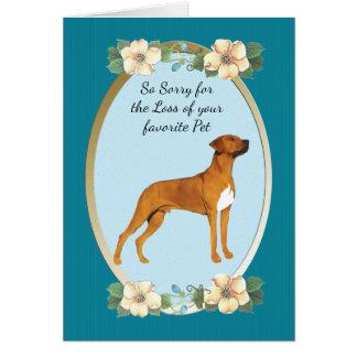 Rhodesian Ridgebackのティール(緑がかった色)花ペット損失 カード