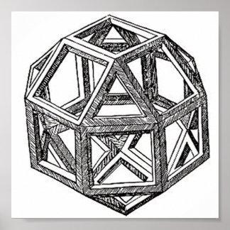 Rhombicuboctahedron、レオナルド・ダ・ヴィンチ ポスター
