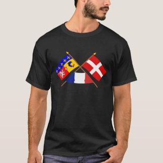 Rhône-Alpesおよびサボアの交差させた旗 Tシャツ