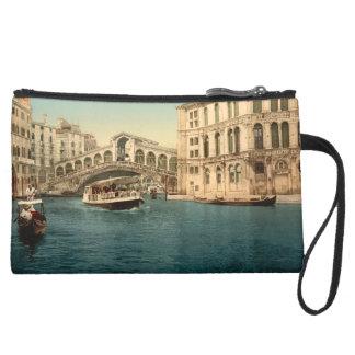 Rialto橋および大運河、ベニス、イタリア スエードクラッチ