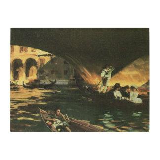 Rialto橋、Sargentのヴィンテージの芸術著大運河 ウッドウォールアート