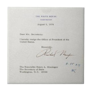 Richard M. Nixon 1974年の辞職の手紙 タイル