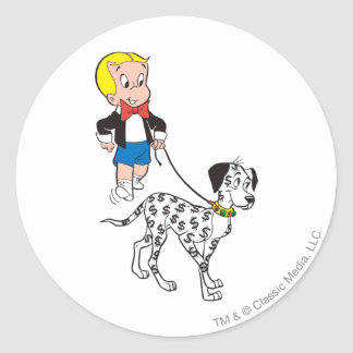 Richieの金持ちの歩行のドル犬-色 ラウンドシール