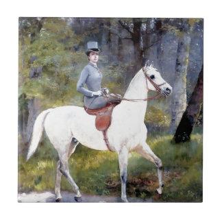 Riding女性白馬の絵画 タイル