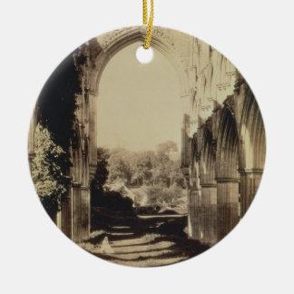 Rievaulxの大修道院、ノースヨークシャー州1854年(セピア色の写真 セラミックオーナメント