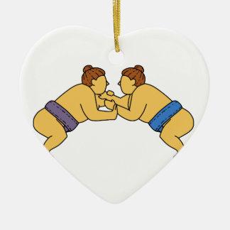 Rikishiの相撲のレスリング選手のモノラルライン セラミックオーナメント