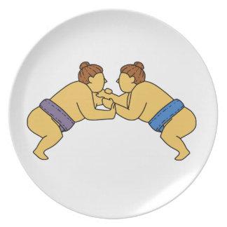 Rikishiの相撲のレスリング選手のモノラルライン プレート