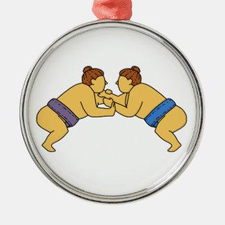 Rikishiの相撲のレスリング選手のモノラルライン メタルオーナメント