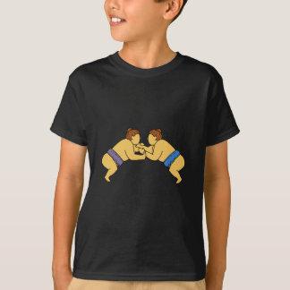 Rikishiの相撲のレスリング選手のモノラルライン Tシャツ