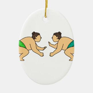 Rikishiの相撲のレスリング選手はモノラルラインに直面します セラミックオーナメント