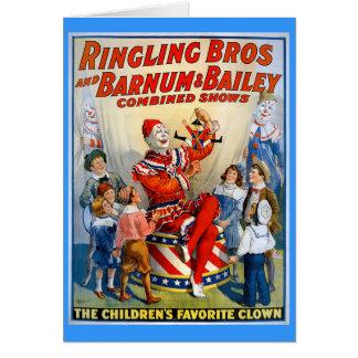Ringlingの兄弟及びBarnum及びベイリーのヴィンテージのピエロ カード