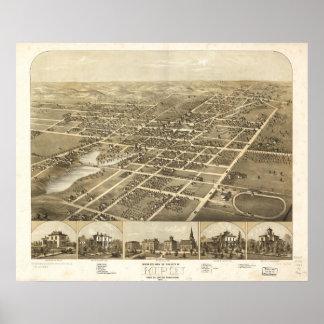 Ripon WI 1867の旧式なパノラマ式の地図 ポスター