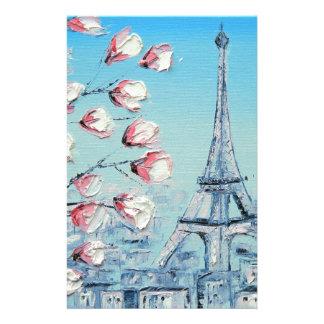 risの春の絵画、エッフェル塔の桜 便箋