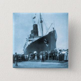 RMSのルシタニア、13 Septemeber 1907年の未婚の旅行 5.1cm 正方形バッジ