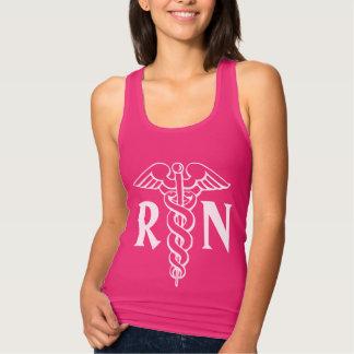 RNの公認看護師|のピンクのための看護のタンクトップ タンクトップ