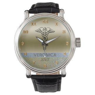 RNの金ゴールドを看護している医学のケリュケイオンの記号|のナース 腕時計