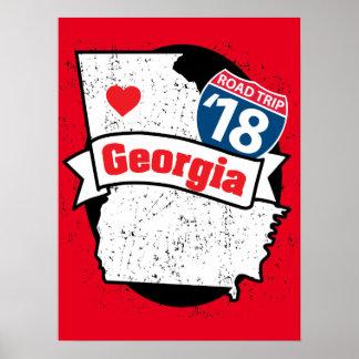Roadtrip 「18ジョージア-赤いポスター ポスター