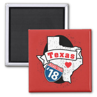 Roadtrip 「18テキサス州-正方形の磁石(赤い) マグネット