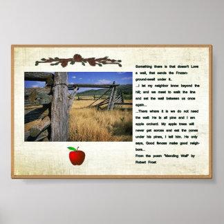 Robert Frostの詩の塀の写真ポスター ポスター